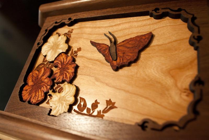 Butterfly Woodcut Art Memorial Urn