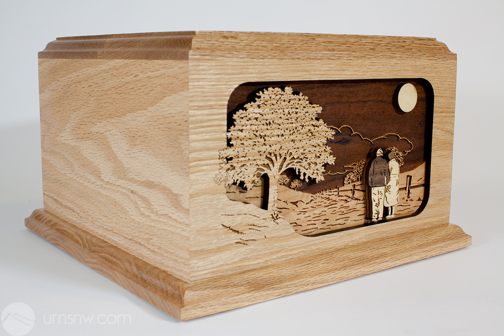Oak Wood Cremation Urn