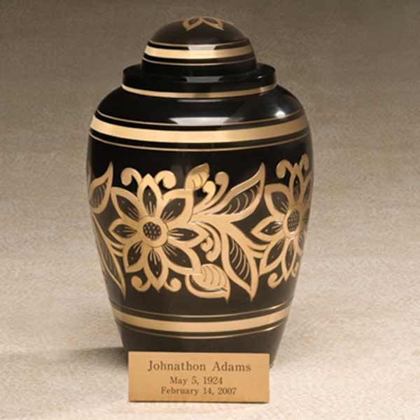 Brass Cremation Urn with Floral Design