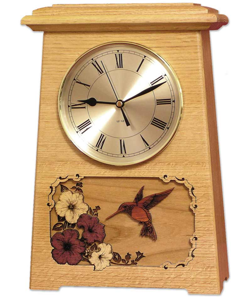 Clock Cremation Urn with Flowers and Hummingbird