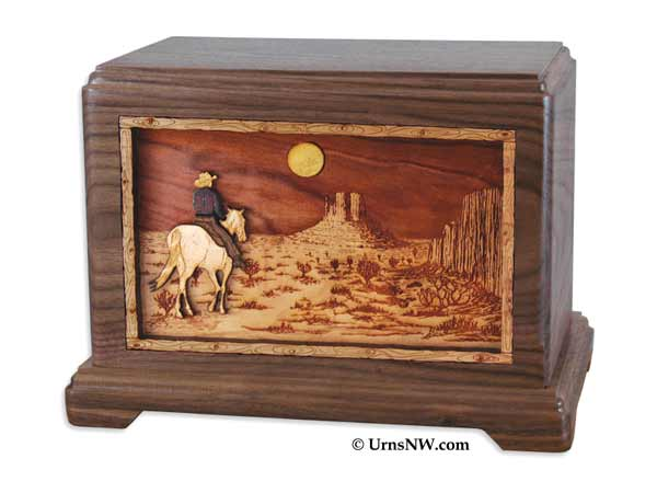 Cowboy Cremation Urn in Walnut Wood