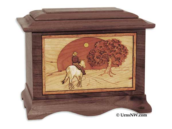 Wood Urn with Horse and Cowboy Inlay