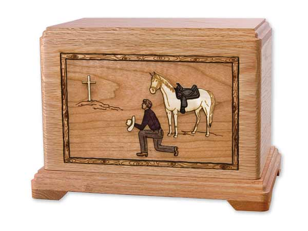 Wooden Cowboy Urn