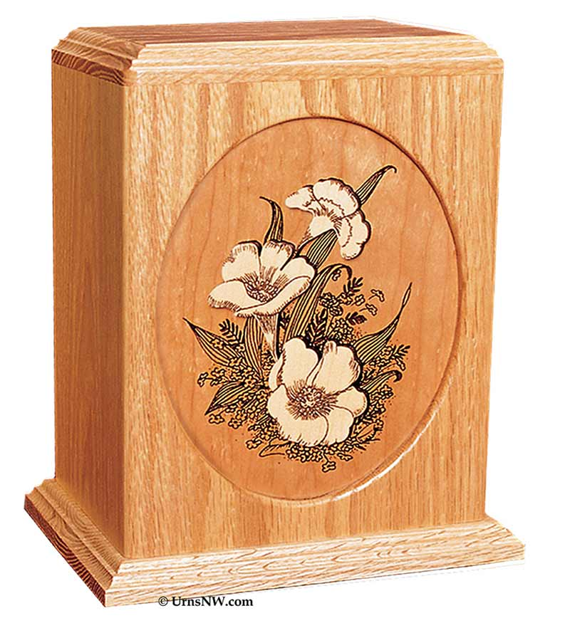 Floral Inlay Art Cremation Urn