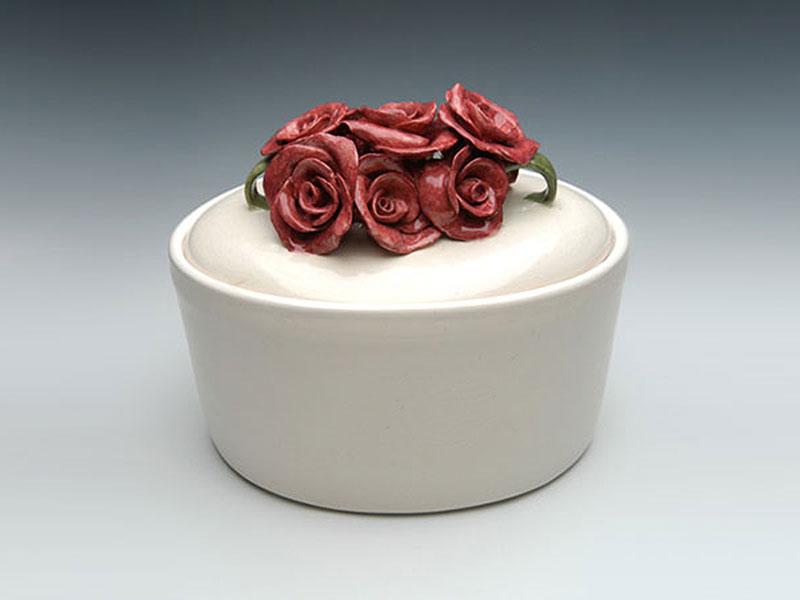 Ceramic Roses Oval Urn