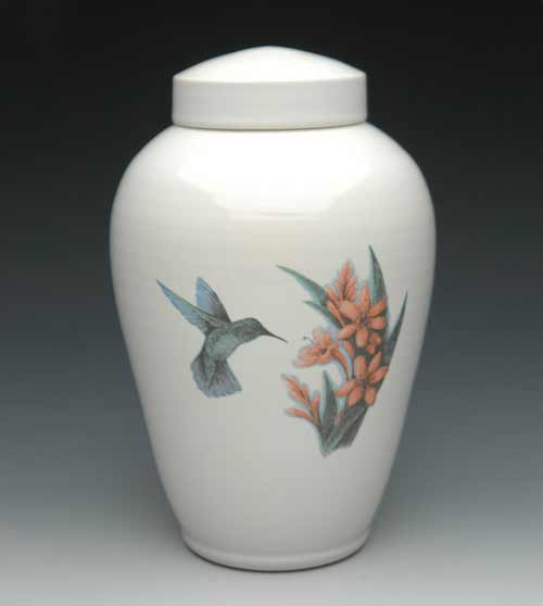 Hummingbird Ceramic Urn with Flowers