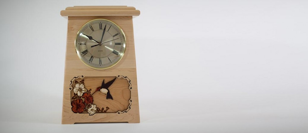 Clock Urn with Hummingbird Inlay