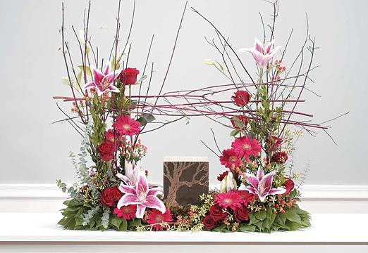 Cremation urn floral arch
