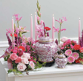 Memorial Table Arrangement for Funeral Urn