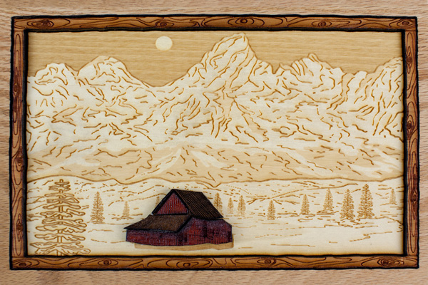 Wood Art Mountain Etching