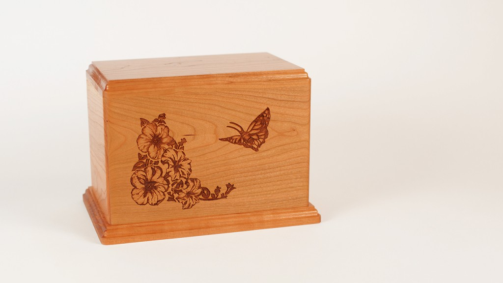 Laser Carved Butterfly Cremation Urn