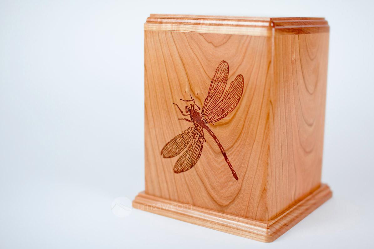 Cherry Wood Dragonfly Urn