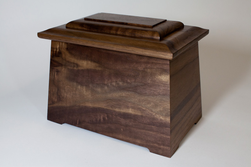 Walnut Wood Lily Cremation Urn