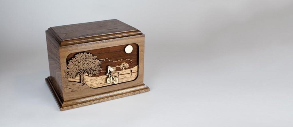 Wood Bicycle Urn