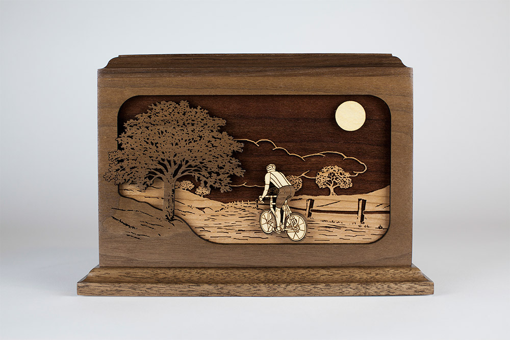 Cremation Urn with Bicycle Wood Art Inlay