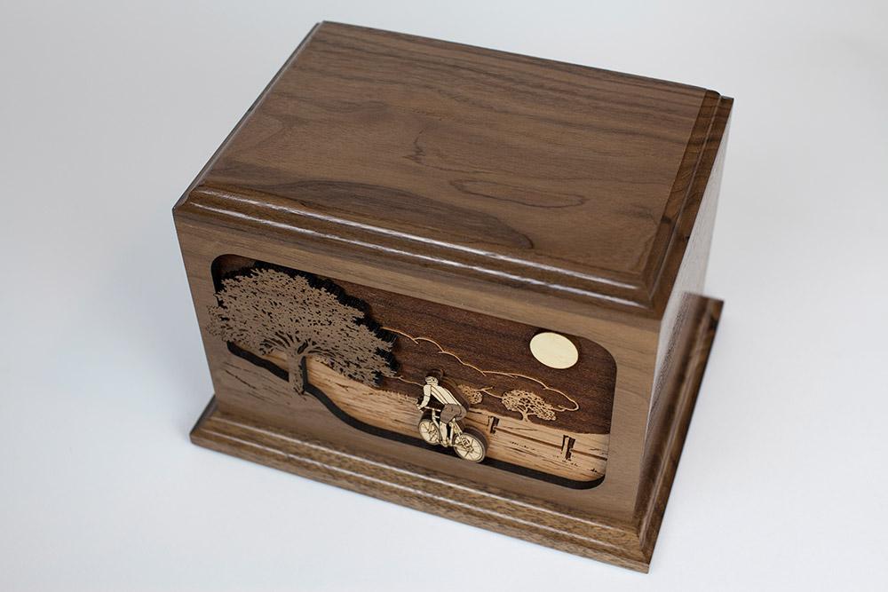 Walnut wood urn with Bicycle scene