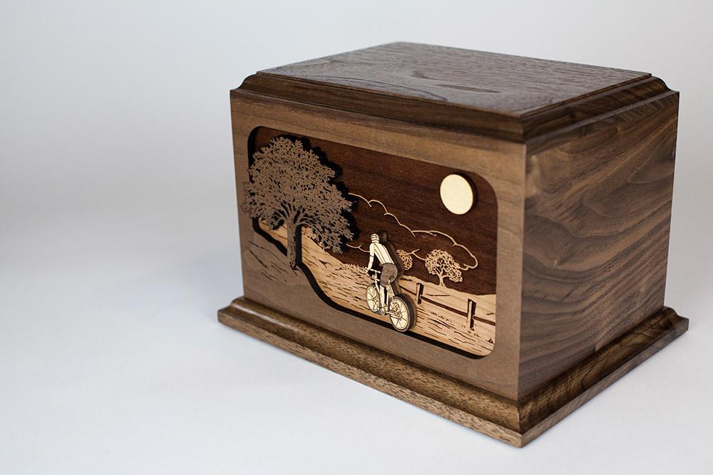 Wood Urn with Bicycle