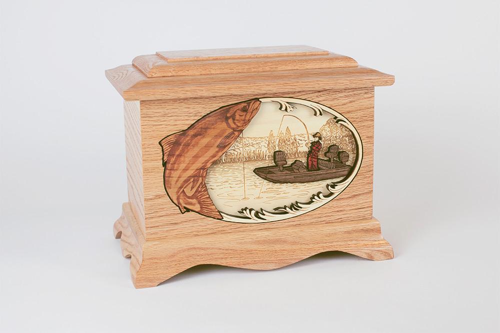 Fishing funeral urn