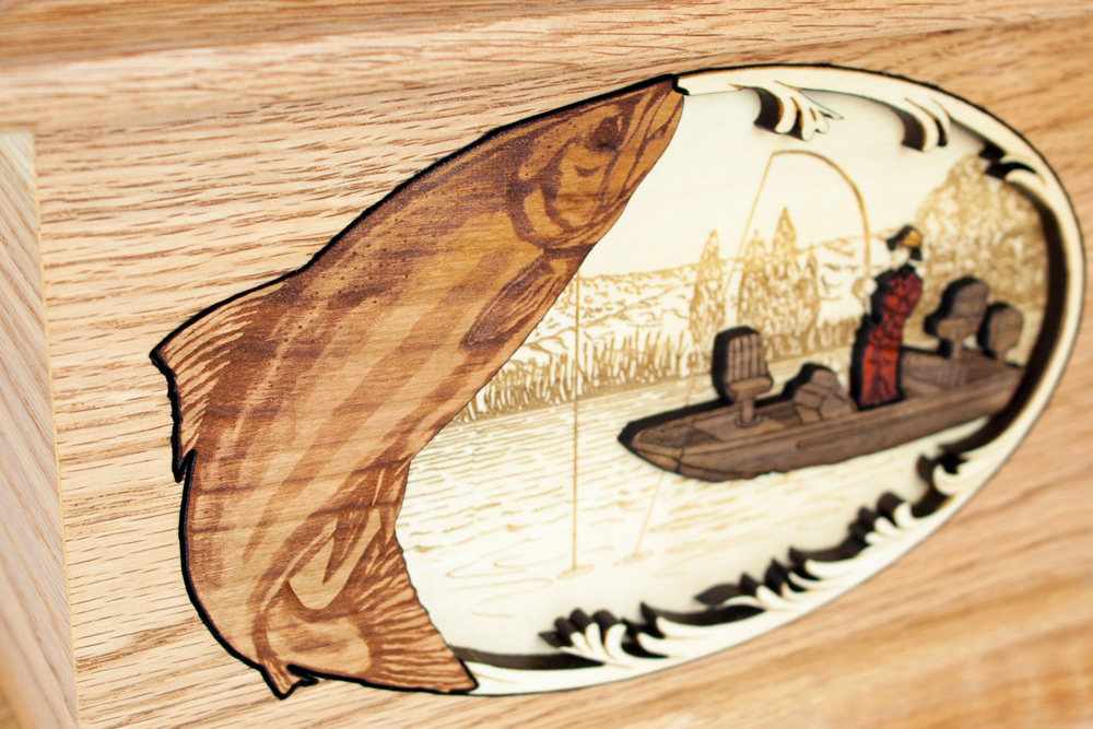 Boat fishing salmon fisherman wood urn