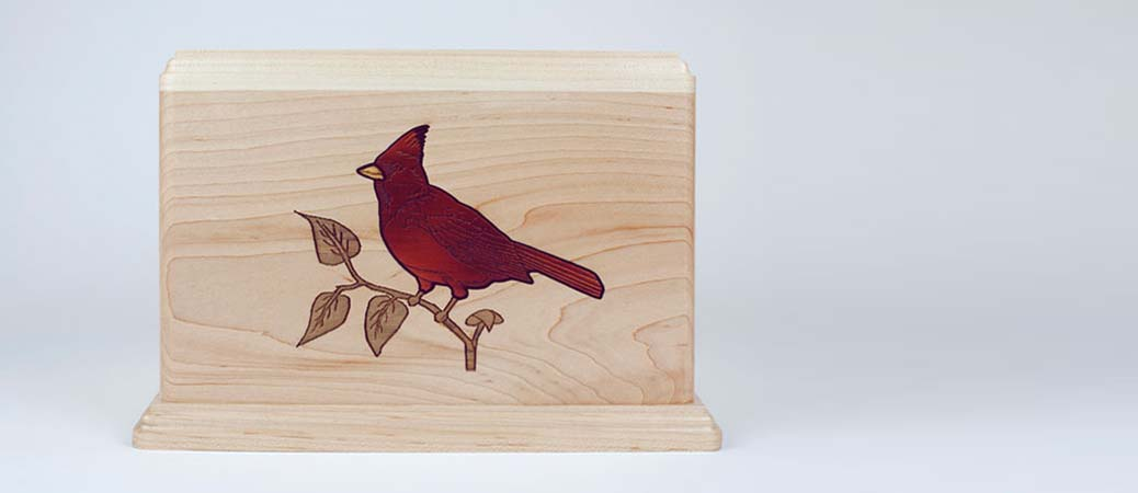 Wood Inlay Cardinal Bird Art Urn