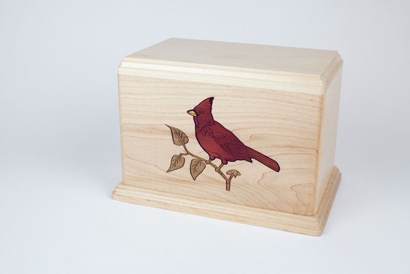 Maple wood urn with Cardinals inlay