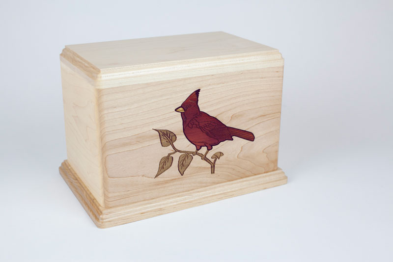 Wood Cremation Urn with Cardinal Bird