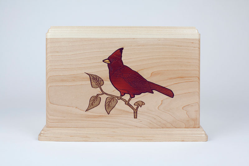 Red Cardinal Bird Inlay Memorial Cremation Urn