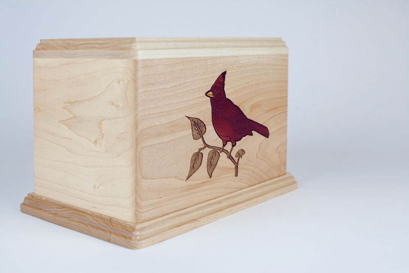 Cremation Urn with Cardinal Inlay