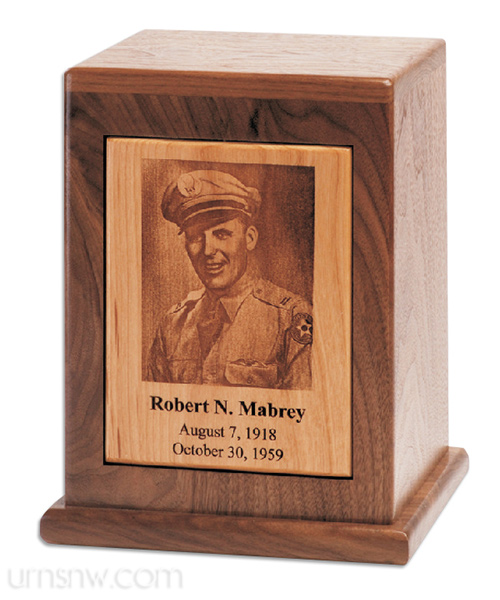 Engrave a photo onto a cremation urn