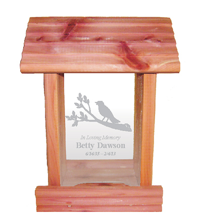 Cedar wood bird feeder, personalized
