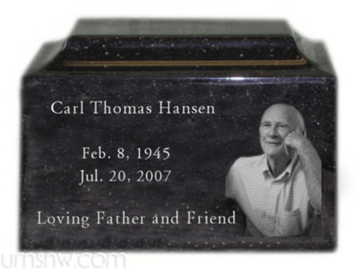 Engraved photo cremation urn - black granite