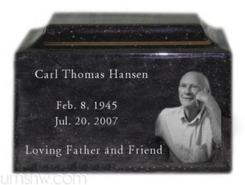 Engraved photo cremation urn - black granite