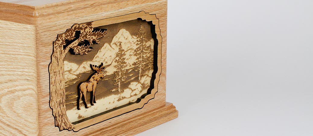 Oak wood memorial urn