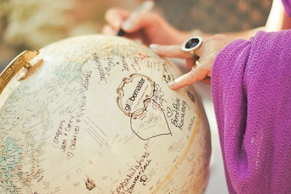 Globe for World Traveller Guest Book