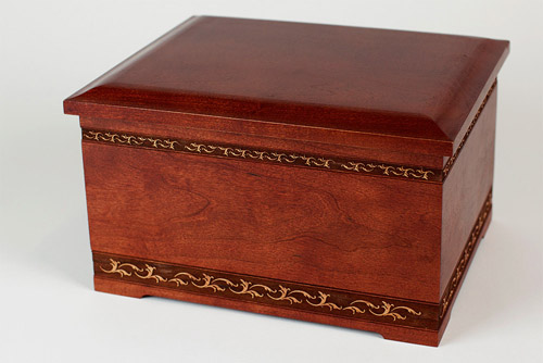 Art carving cherry wood cremation urn