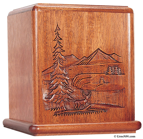 Mahogany Wood Cremation Urn