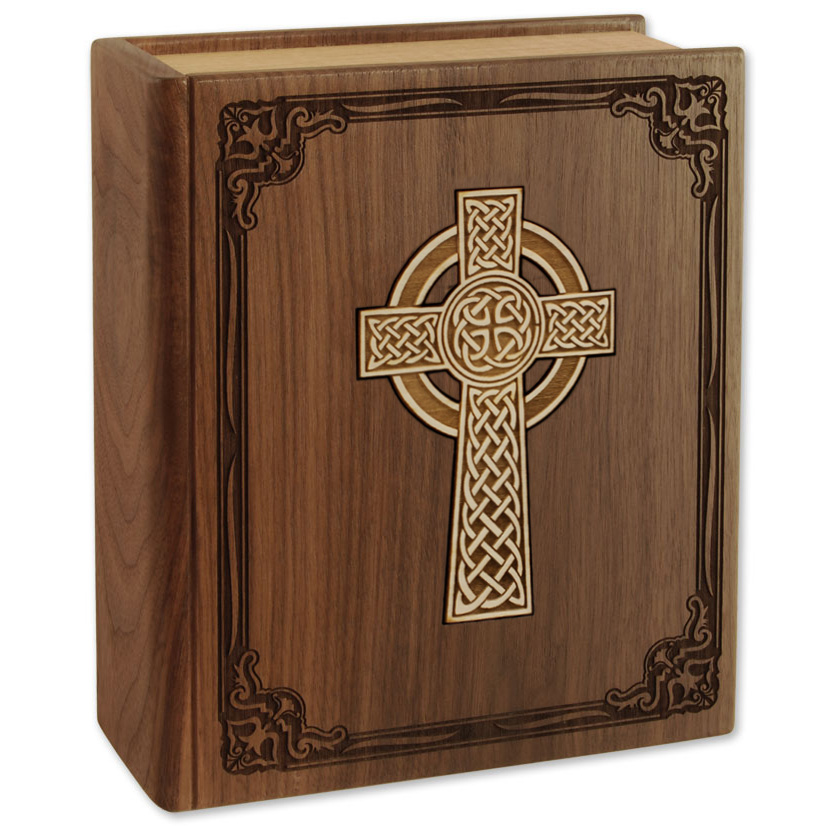 Celtic Cross on Wood Bible Cremation Urn