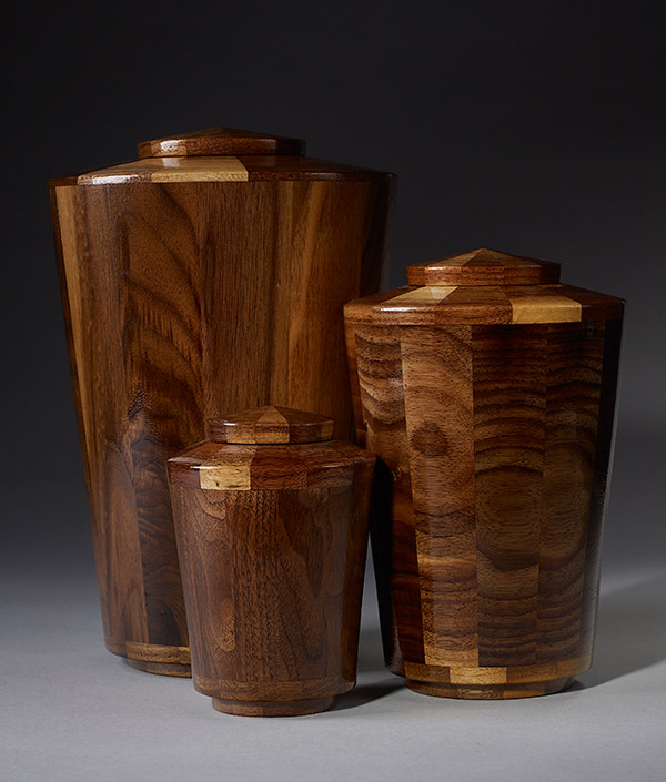 Hand turned wood funeral urns