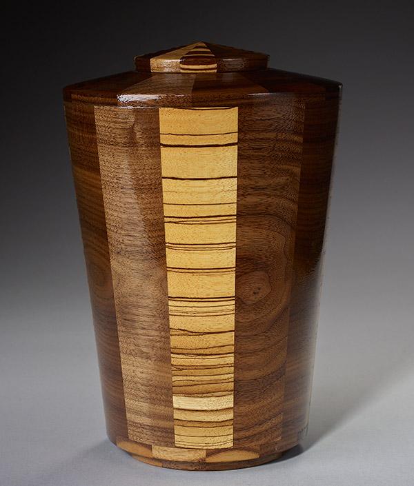 Hand Turned Wood Cremation Urn - Walnut & Zebrawood