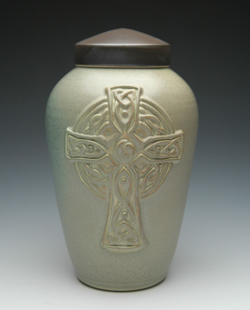 Ceramic Urn with Celtic Cross