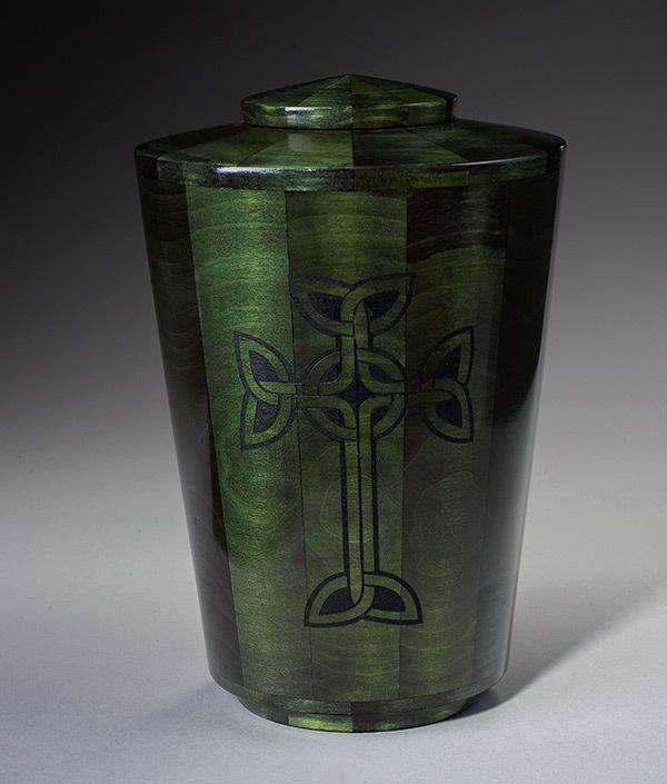 Hand Turned Wood Urn Green
