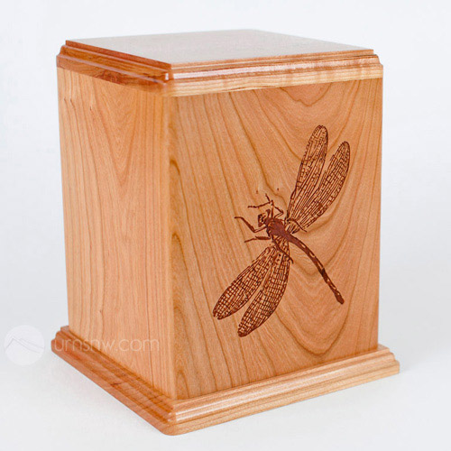 Cherry wood urn with Dragonfly