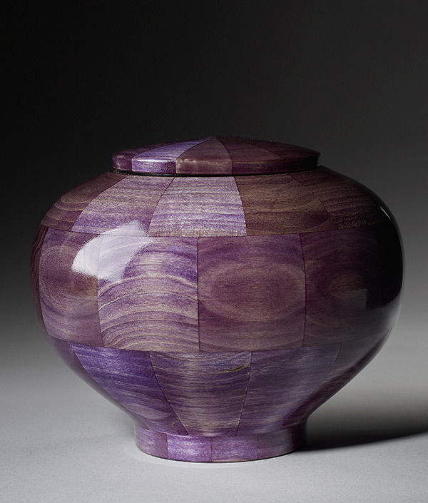Hand crafted purple wood urn