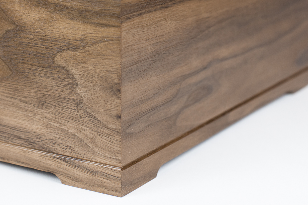 Routered walnut wood corner