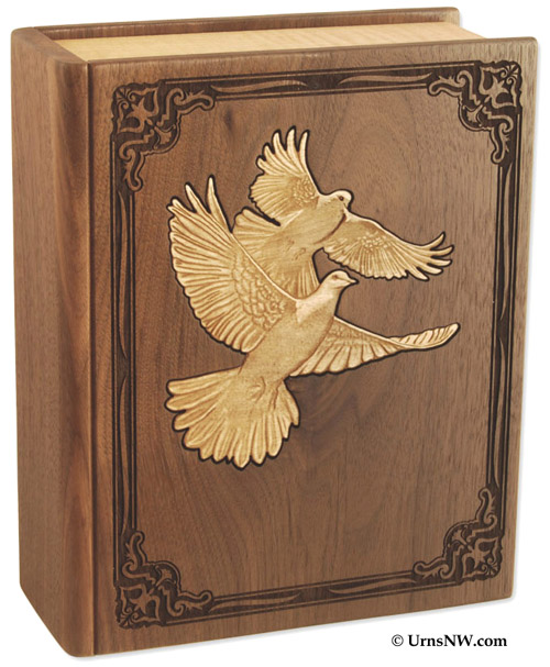 Doves Walnut Wood Urn