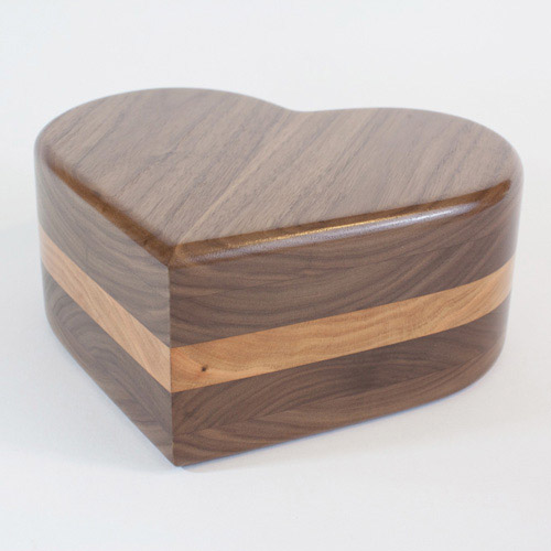 Heart shaped wood urn