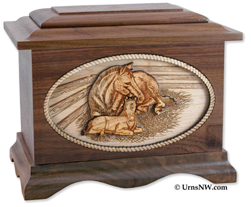 Horses Walnut Wood Funeral Urn