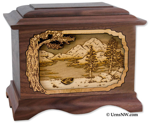 Ambassador Urn with Rustic Mountain Scene