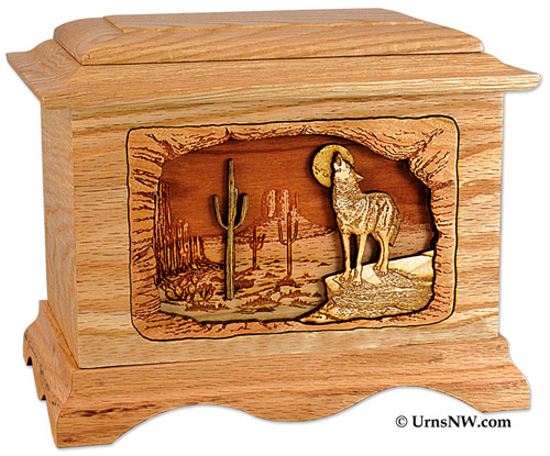 Oak Wood Urn with Desert Coyote
