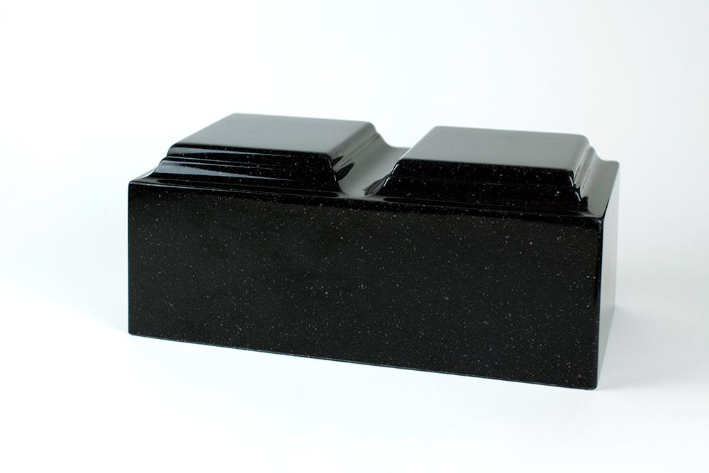 Solid black granite cremation urn